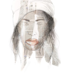 """Denim Girl"", Mixed Media (2014), 42x59.4cm"