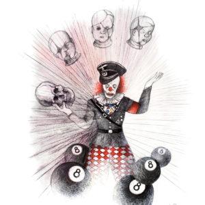 """""""Kingdom of the Evil Clown III"""", Mixed Media (2015), 42x59.4cm"""