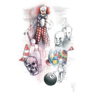 """Kingdom of the Evil Clown I"", Mixed Media (2015), 42x59.4cm"