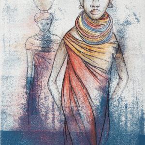 """Wanawake Wawili / Two Women"", Mixed Media (2015), 19.8x30cm"